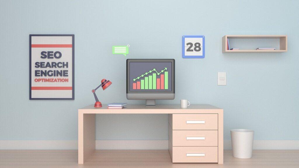 SEO graphic computer charts desk